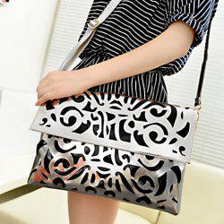 Casual Candy Color and Openwork Design Women's Crossbody Bag -