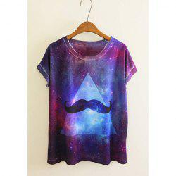 Fashion Style Scoop Neck Bandhnu Starry Sky (Inverted) Triangle Pattern Beard Print Short Sleeves Polyester Women's T-Shirt -