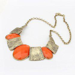 Oval Faux Gem Stripe Square Pendants Alloy Necklace