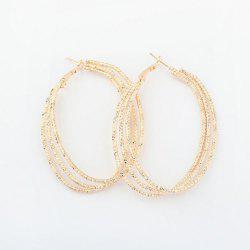 Pair of Alloy Multilayered Hoop Earrings