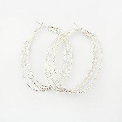 Pair of Alloy Multilayered Hoop Earrings -