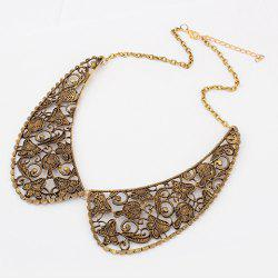 Delicate Vintage Openwork Fake Collar Shape Pendant Women's Alloy Necklace -