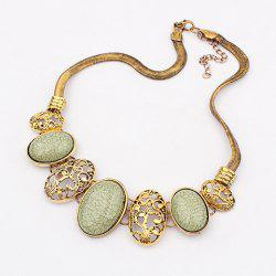 Vintage Delicate Openwork Pattern and Faux Gem Design Women's Oval Pendants Necklace -