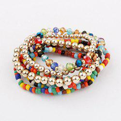 7PCS of Exquisite Bohemian Women's Bead Embellished Bracelets With Elasticity -