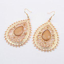 Pair of Exquisite Acrylic Gemstone Embellished Women's Openwork Fringed Earrings -