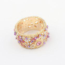 Rhinestoned Flower Decorated Alloy Ring - GOLD