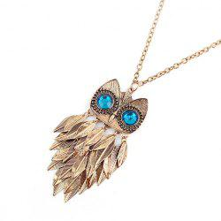 Faux Gem Owl Feather Pendant Necklace -