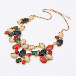 Geometric Alloy Rhinestoned Faux Gemstone Pendant Necklace -