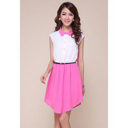 Vintage Polo Neck Sleeveless Color Block Chiffon Women's Dress
