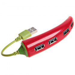 Portable USB Hub with 4 High Speed Ports - Red -