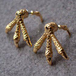 Chic Punk Style Solid Color Embellished Women's Eagle Claw Shape Earrings