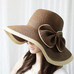 Exaggerated Bicolor Bowknot Embellished Women's Broad Brim Straw Cap - COLOR ASSORTED