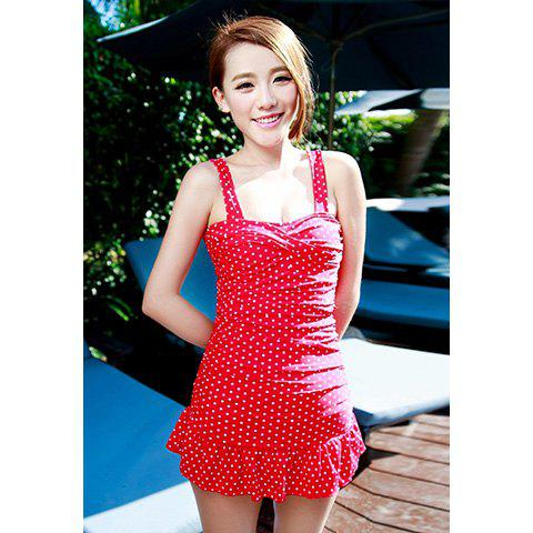 Buy Slim Fit Cute Polka Dot Print Women's One-Piece 50s Style Swimsuit
