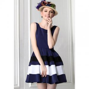 Vintage Style Color Matching Sleeveless Women's Dress - Blue - L