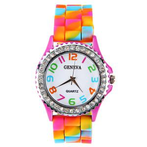 Geneva Quartz Watch 12 Arabic Number Indicate Rubber Watch Band for Women - Colorful -