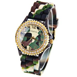 Geneva Quartz Watch 12 Arabic Number Hour Marks Rubber Watch Band for Women - Camouflage Color