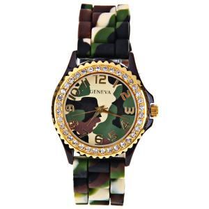 Geneva Quartz Watch 12 Arabic Number Hour Marks Rubber Watch Band for Women - Camouflage Color - CAMOUFLAGE COLOR