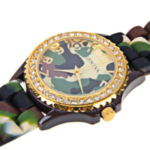 Geneva Quartz Watch 12 Arabic Number Hour Marks Rubber Watch Band for Women - Camouflage Color -