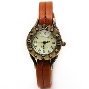 WoMaGe Quartz Watch 12 Roman Numbers Indicate Leather Watch Band for Women - Dark Brown -