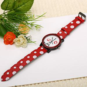 WoMaGe Quartz Watch Diamond Dots Indicate Leather Watch Band for Women - Red -