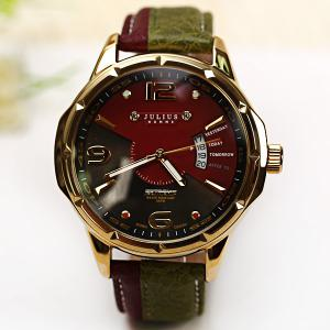 Julius Quartz Watch with Numbers Strips Dots Indicate Leather Watch Band for Men -
