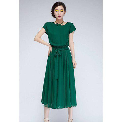Sale Sweet Style Scoop Neck Ruffled Stringy Selvedge Elastic Waist Short Sleeves Chiffon Women's Short Sleeves Cute Solid Color Stringy Selvedge Elastic Waist Pleated Chiffon DressDress