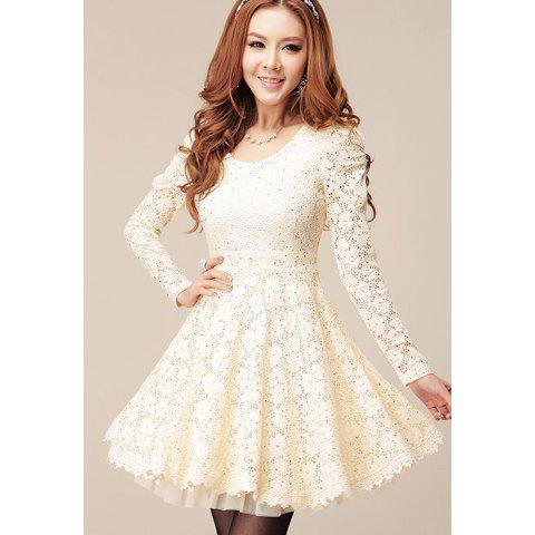 New Long Sleeves Sweet Style Scoop Neck Polyester Lace Splicing Women's Dress