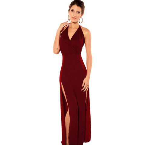 Chic V-Neck Solid Color Sleeveless Polyester Sexy Style Club Women's Maxi-Dress