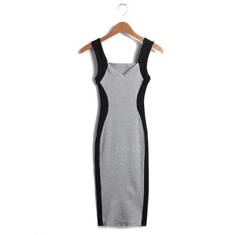 New Stylish Sweetheart Neckline Color Splicing Sleeveless Polyester Women's Dress