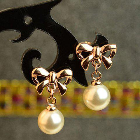 Sale Pair of Sweet Faux Pearl Decorated Bowknot Shape Earrings For Women