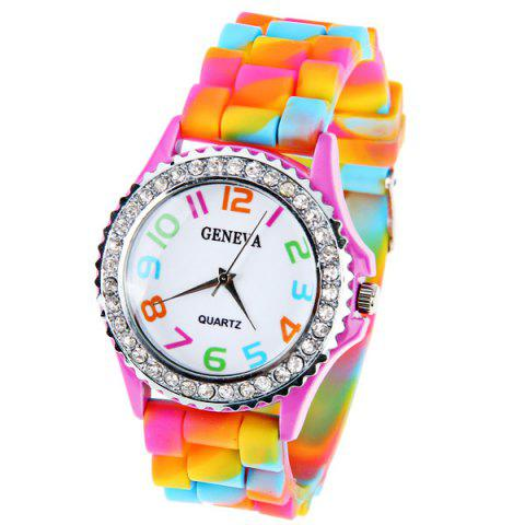 Sale Geneva Quartz Watch 12 Arabic Number Indicate Rubber Watch Band for Women - Colorful