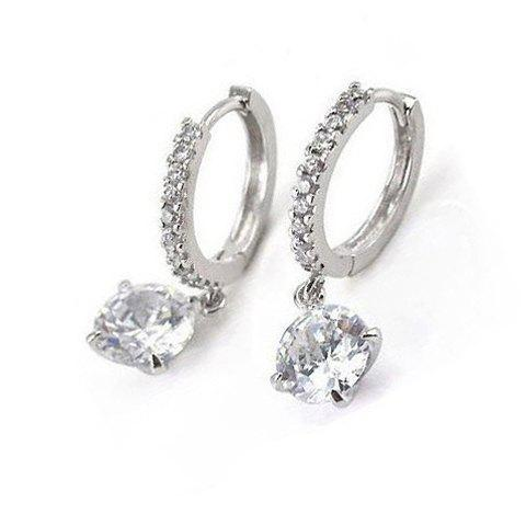 Latest Pair of Embellished Rhinestone Decorated Round Pendant Hoop Earrings For Women - SILVER  Mobile