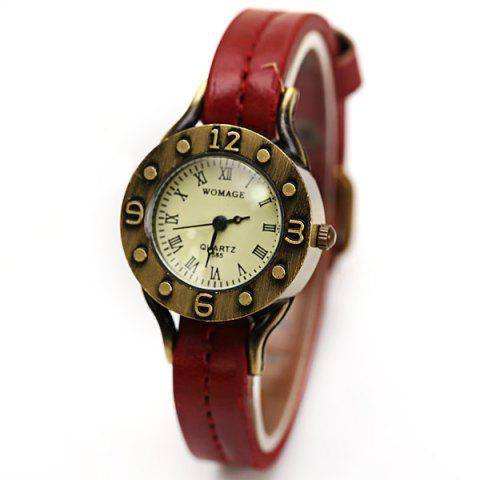 Buy WoMaGe Quartz Watch 12 Roman Numbers Indicate Leather Watch Band for Women - Dark Brown -   Mobile