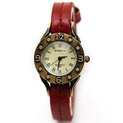Hot WoMaGe Quartz Watch 12 Roman Numbers Indicate Leather Watch Band for Women - Dark Brown -   Mobile