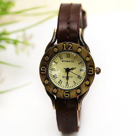 Outfit WoMaGe Quartz Watch 12 Roman Numbers Indicate Leather Watch Band for Women - Dark Brown -   Mobile