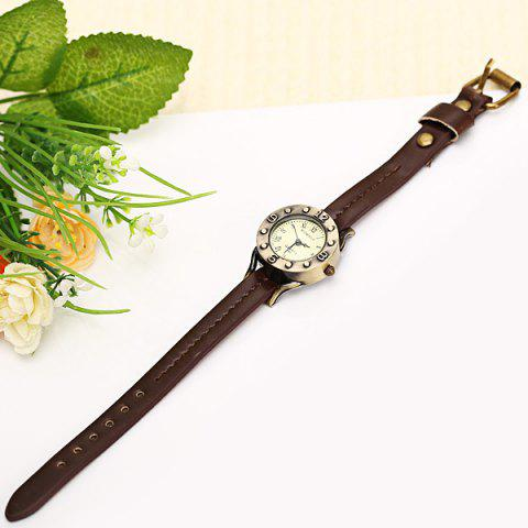 Online WoMaGe Quartz Watch 12 Roman Numbers Indicate Leather Watch Band for Women - Dark Brown -   Mobile