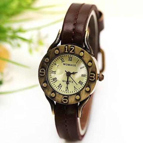 Cheap WoMaGe Quartz Watch 12 Roman Numbers Indicate Leather Watch Band for Women - Dark Brown