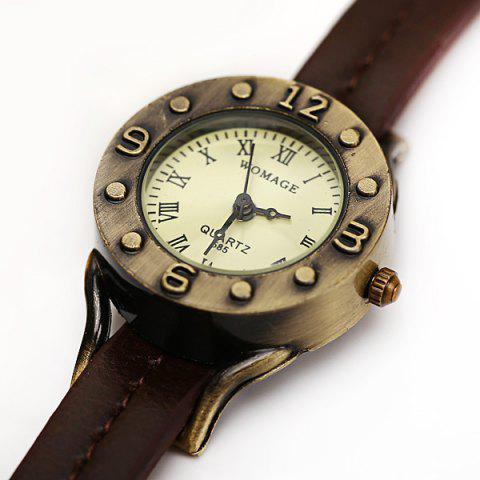 Outfits WoMaGe Quartz Watch 12 Roman Numbers Indicate Leather Watch Band for Women - Dark Brown -   Mobile