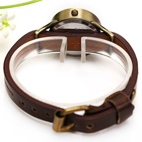 Latest WoMaGe Quartz Watch 12 Roman Numbers Indicate Leather Watch Band for Women - Dark Brown -   Mobile