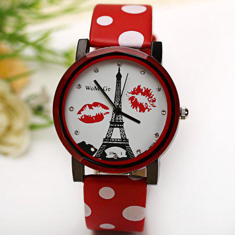 Affordable WoMaGe Quartz Watch Diamond Dots Indicate Leather Watch Band for Women - Red -   Mobile