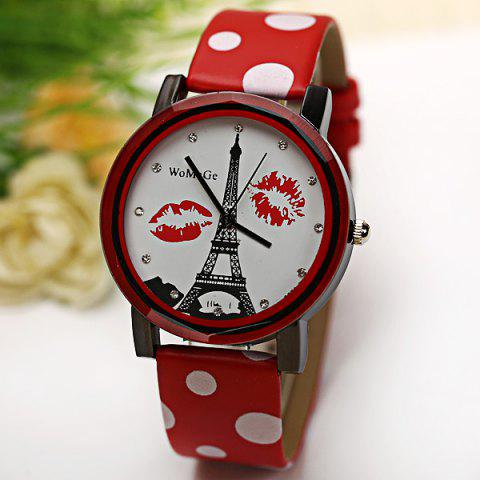 Discount WoMaGe Quartz Watch Diamond Dots Indicate Leather Watch Band for Women - Red