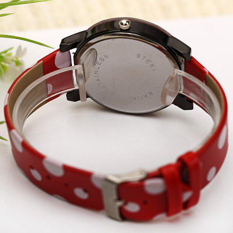 Store WoMaGe Quartz Watch Diamond Dots Indicate Leather Watch Band for Women - Red -   Mobile