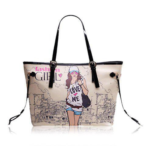 Trendy Casual Beauty Print and PU Leather Design Women's Shoulder Bag