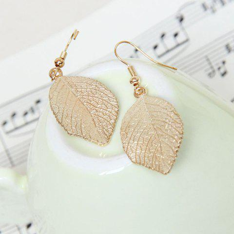 Unique Pair of Chic Leaf Pendant Earrings For Women - GOLD  Mobile