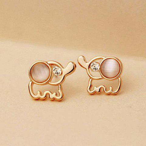 Sale Pair Of Delicate Elegant Rhinestone and Opal Design Elephant Shape Stud Earrings For Women