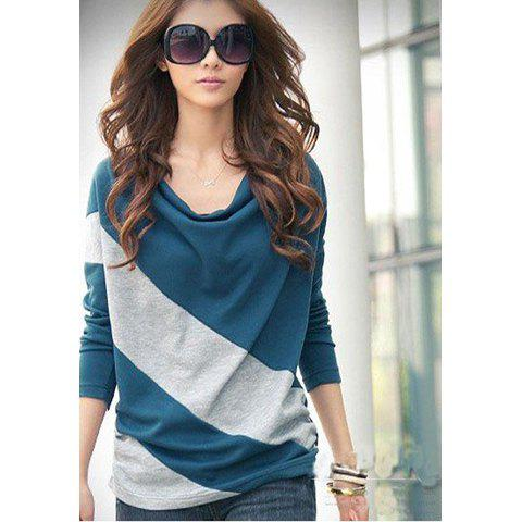 Elegant and Comfortable Diagonal Stripes Long Sleeves Cotton Blends Women's T-Shirt