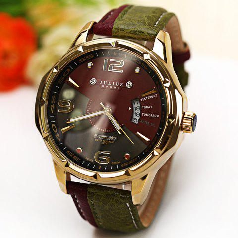 Hot Julius Quartz Watch with Numbers Strips Dots Indicate Leather Watch Band for Men