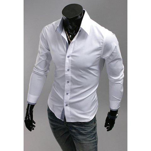Outfits Simple Design Solid Color Shirt Collar Checked Splicing Long Sleeves Polyester Shirt For Men