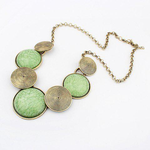 Unique Spiral Print Embellished Round Pendant Alloy Necklace
