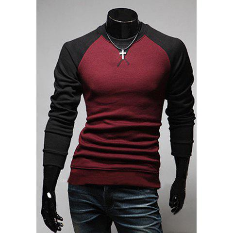 Buy Fashion Style Scoop Neck Long Sleeves Slimming Polyester T-Shirt For Men